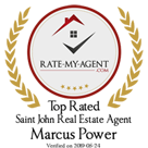 Top Rated Saint John Real Estate Agent Badge for Marcus Power verified on 2019-05-22 by Rate-My-Agent.com